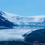 The triple cascade of the Athabasca Glacier.