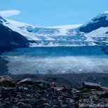 Athabasca Glacier is one of the five major glaciers feeding from the Columbia Icefields.