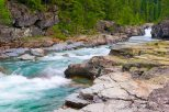 Turquoise water from glacier runoff.