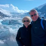 Brr. The wind is blowing down from the Columbia Icefield as Wooly and Raeski pose for the camera on the Athabasca Glacier and it's cold!