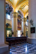 The elegant arches of a Lima church.
