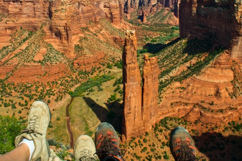 In our shoes overlooking Spider Rock, Canyon de Chelly.