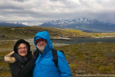 Wooly and Raeski on a blustery summer day at the Beagle Channel.