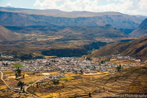The town of Chivay from the top of Colca Canyon.