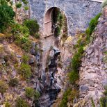Colca Canyon begins as a steep narrow gorge.